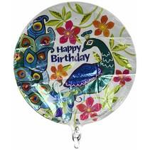 "***Peacock Birthday 18"" Mylar Balloon"