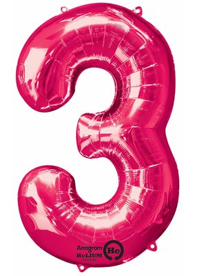 """***Hot Pink Number 3 Three Balloon 34"""" Tall"""