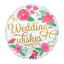 "***Wedding Wishes Floral 18"" Mylar Balloon"