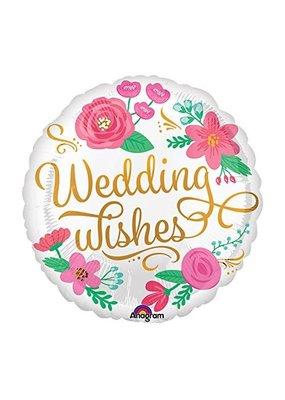 "***Wedding Wishes Floral 18"" Mylar Balloon"