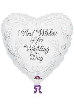 ***Wedding Best Wishes Heart Shape Mylar Balloon