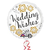 "***Wedding Wishes 18"" Mylar Balloon"