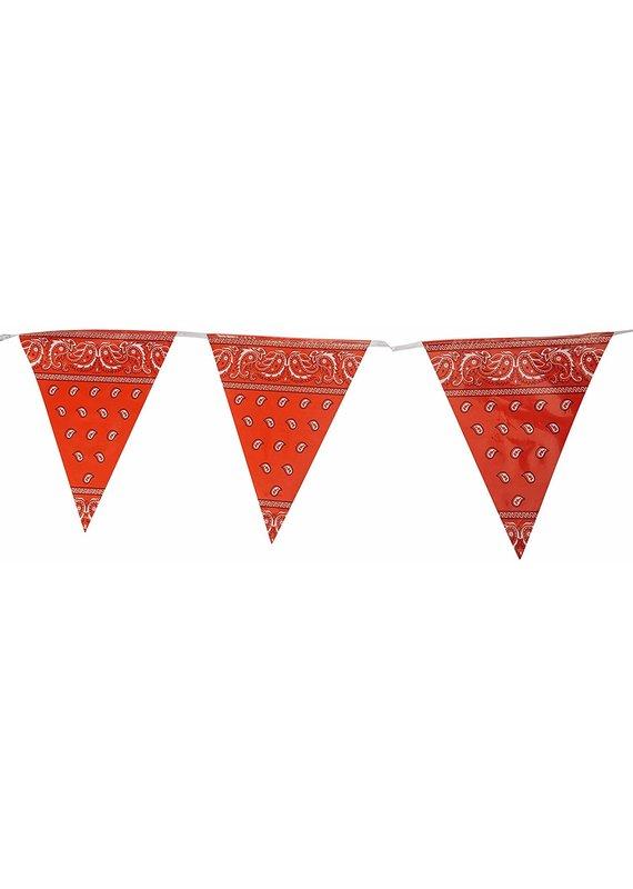****Red Bandana Plastic Pennant Banner 12ft