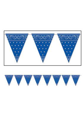 ***Blue Bandana 12ft pennant banner