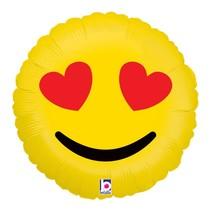 "***Emoji Heart Eyes 18"" Mylar Balloon"