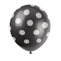 ***Black Polk Dot 6ct Latex Balloons