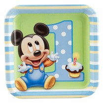 "***1st Birthday Mickey Mouse 7"" square plates"
