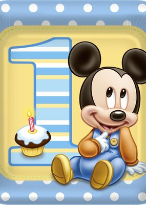 """***1st Birthday Mickey Mouse Square 9"""" Dinner Plate"""
