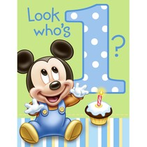 ***1st Birthday Mickey Mouse Invitations 8ct