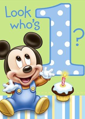 ***1st Birthday Mickey Mouse Invitations 8ct