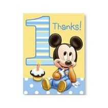 ***1st Birthday Mickey Mouse Thank You Notes 8ct