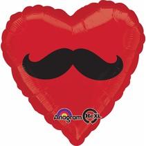 ***Red Heart Mustache Mylar Balloon