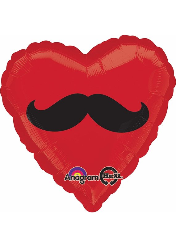 ***Red Heart Mustache Mylar Balloon