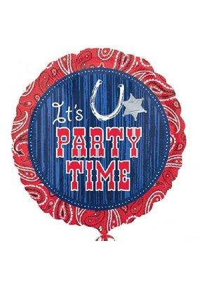 "***Bandana Party Time 18"" Mylar Balloon"