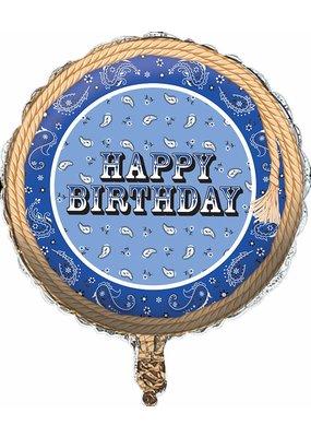 ***Blue Bandana Cowboy Birthday Mylar Balloon