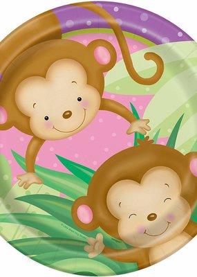 "***Baby Girl Monkey 9"" Dinner Plates 8ct"