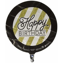 ***Black & Gold Birthday Mylar Balloon