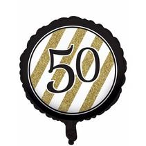 ***Black & Gold 50th Mylar Balloon