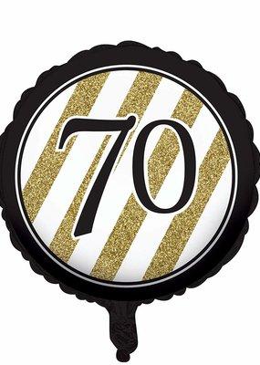 ***Black & Gold 70th Mylar Balloon
