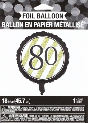 ***Black & Gold 80th Mylar Balloon