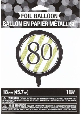 ***Black & Gold 80th Mylar Balloon
