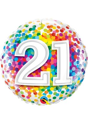 "***Confetti 21st Birthday 18"" Mylar Balloon"