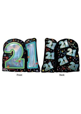"***21st Brilliant Birthday 27"" Mylar balloon"