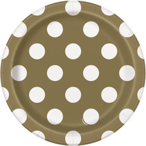 "***Gold Dots 7"" Paper Plates 8ct"