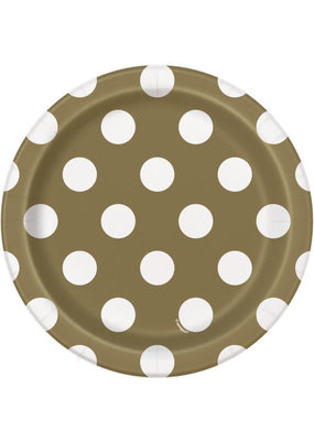 """***Gold Dots 7"""" Paper Plates 8ct"""