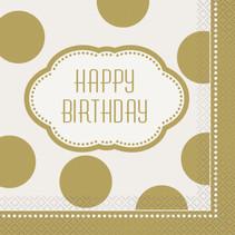 ***Golden Birthday Luncheon Napkins, 16ct