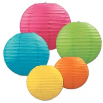 ***Assorted Sizes Tropical Paper Lanterns 5ct