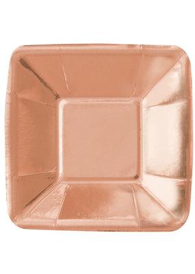 "***Rose Gold Foil 5"" Square Plates 8ct"