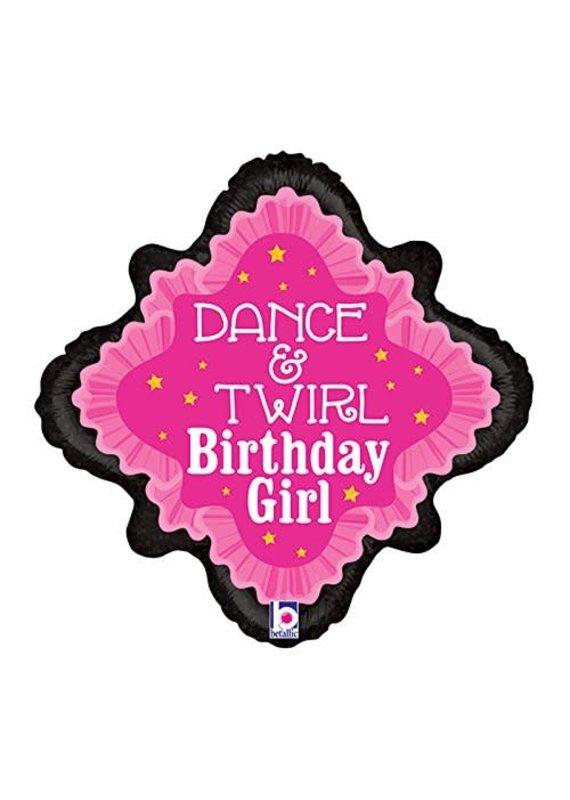****Dance & Twirl Birthday Mylar Balloon
