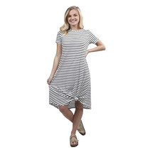 ***Black and White Striped Knot Dress