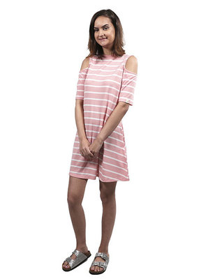 ***Pink and White Striped Cold Shoulder Dress