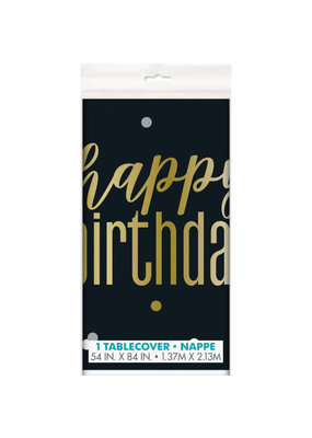 "***Metallic Birthday Plastic Tableover 54"" x 84"""