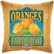 "***Farm Fresh Oranges 18"" Square Mylar Balloon"