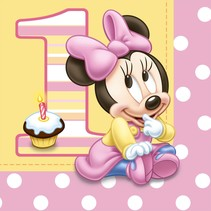 ***1st Birthday Day Minnie Mouse Lunch Napkins 16ct