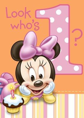***1st Birthday Minnie Mouse Invitations 8ct