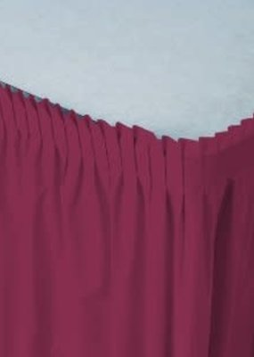 ***Burgundy 14' Plastic Table Skirt