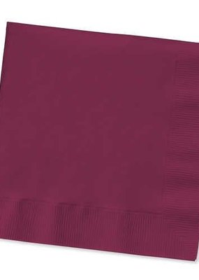 ***Burgundy 3ply Beverage Napkins 50ct