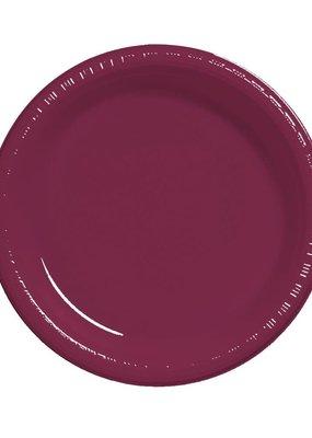 "***Burgundy 7"" Plastic Dessert Plates 20ct"