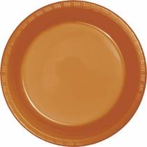 "***Pumpkin Spice 7"" Plastic Dessert Plates 20ct"
