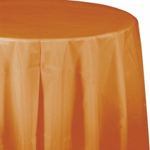 "***Pumpkin Spice 82"" Octy Round Plastic Tablecover"
