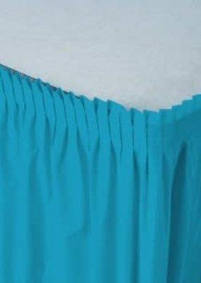 ***Turquoise 14' Plastic Table Skirt