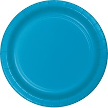 "***Turquoise 7"" Paper Dessert Plates 24ct"