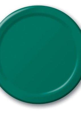 "***Hunter Green 9"" Paper Dinner Plates 24ct"