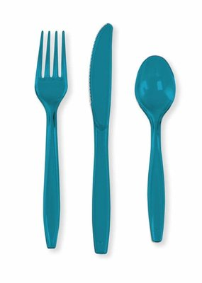 ***Turquoise Assorted Cutlery 24ct