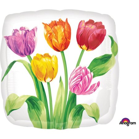"***Tulip Bouquet 18"" Square Mylar Balloon"