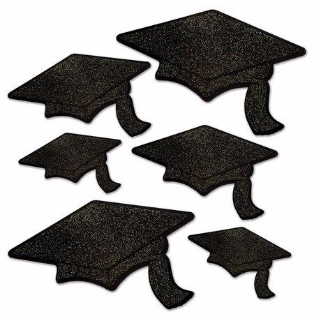 ***Black Grad Cap Glittered Foil Cutouts
